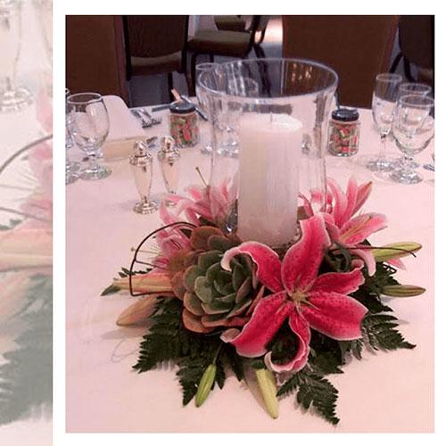 Imagen de Centros de mesa con flores magenta floristería florilandia express