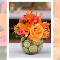 Imagen de Centros de mesa con flores naranjo floristería florilandia express