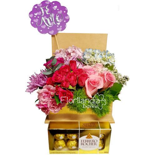 Imagen de Arreglo en cofre con chocolates - Floristería Florilandia Express