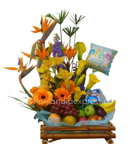 Imagen de Arreglo exótico de flores Piolín - Regalos para nacimiento Floristería Florilandia Express