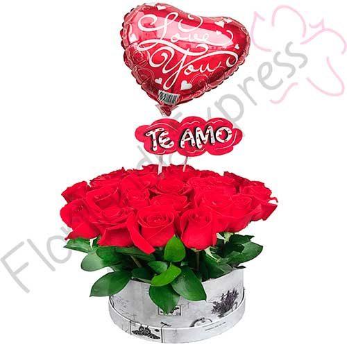 Imagen de arreglo florales con amor - Caja de Rosas Malta - Floristería Florilandia Express