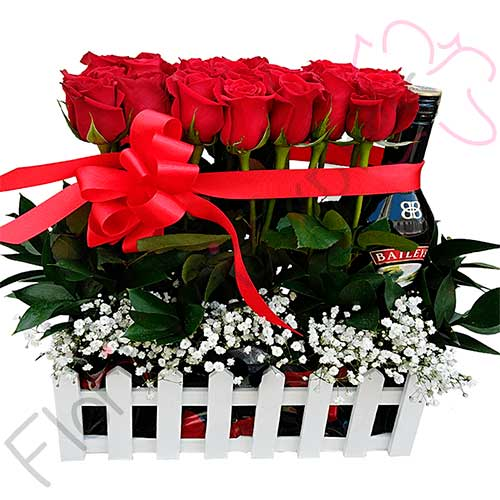 Imagen arreglo florales con amor - Jardinera de rosas - Floristería Florilandia Express