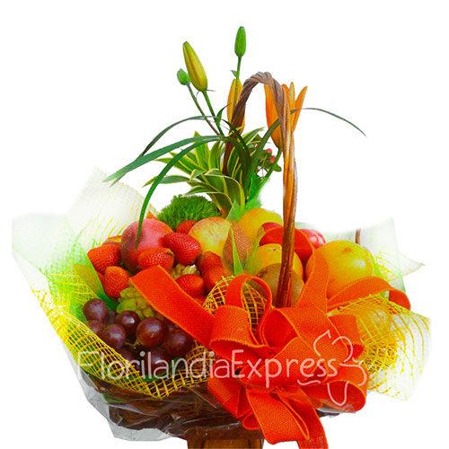 Imagen de Canasta Frutal Sabana y flores a domicilio en Bogotá - Floristería en Bogotá Florilandia Express