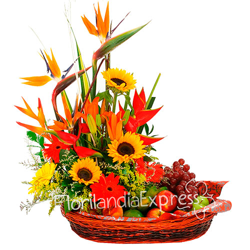 Imagen de Ramo de frutas Tropicales - Canastas de frutas a domicilio en Floristería Florilandia Express