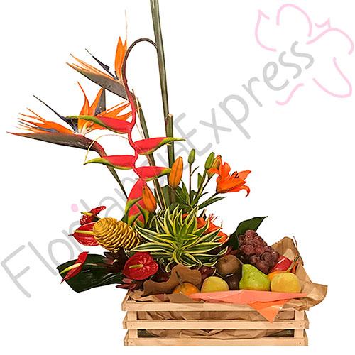 Imagen de Canasta de Frutas y Flores Noruega a domicilio en Bogotá - floristerías Florilandia Express Colombia