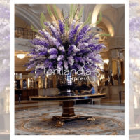 Imagen de eventos empresariales decoración lila Florilandia Express