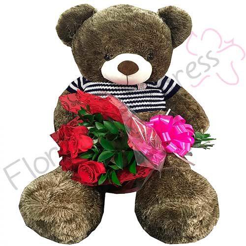 Imagen de Regalo a Domicilio Oso Koda de peluche con rosas - Floristería Florilandia Express
