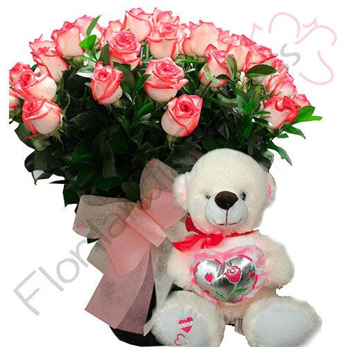 Imagen de Jarrón de Rosas Mohana y peluche a Domicilio - Ramos de flores en Floristerías Florilandia Express