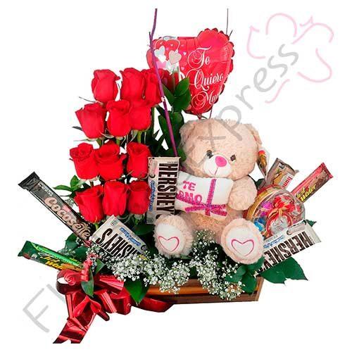 Imagen regalos de aniversario - Canasta de Rosas y Chocolates - flores a domicilio florilandia express