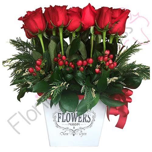 Imagen regalos de aniversario Jardinera de Rosas Dublín flores a domicilio florilandia express