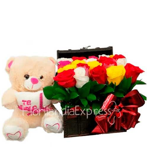 Imagen regalos sorpresa amistad - Cofre de rosas de colores - floristería a domicilio Florilandia