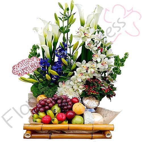 Imagen regalos sorpresa amistad - Canasta de Frutas y Orquídeas Lisboa - Floristería a domicilio Florilandia