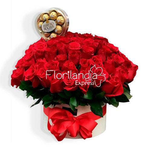 Imagen de Caja de 100 rosas a domicilio en Bogotá - Floristería Florilandia Express
