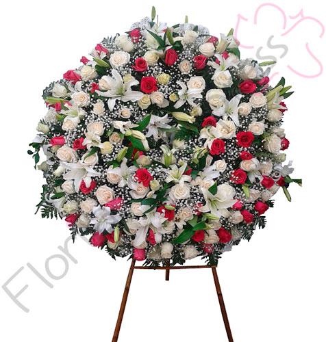 Imagen de Corona fúnebre dalila- flores fúnebres a domicilio floristería Florilandia Express