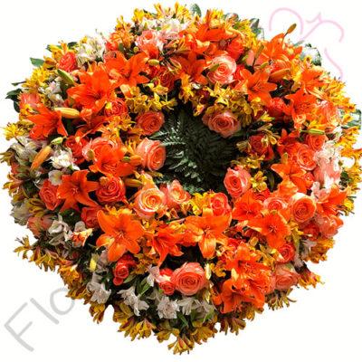 Imagen de Corona Fúnebre sobre Trípode Elisa - Floristerias a domicilio Florilandia Express - Arreglos fúnebres