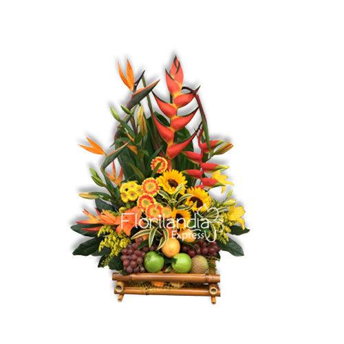 Imagen de canasta de frutas y flores gourmet - Floristería Florilandia Express