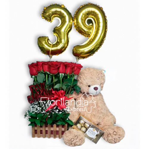 Imagen de Arreglo floral para cumpleaños felicidades - flores a domicilio Floristería Florilandia Express