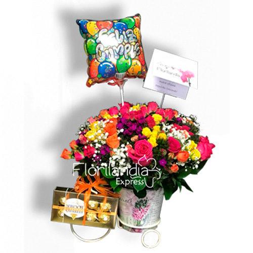 Bouquet De Rosas De Colores A Domicilio Florilandia