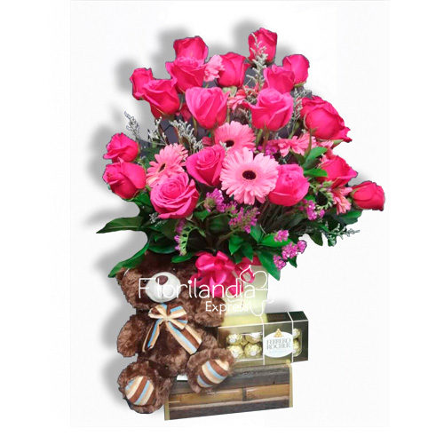 Imagen de arreglos florales de rosas y gerberas fantasía - Flores a domicilio floristería florilandia express Bogotá