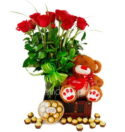 Imagen de Cupido de rosas rojas con peluche - Flores a domicilio - Floristerías Bogotá Florilandia Express